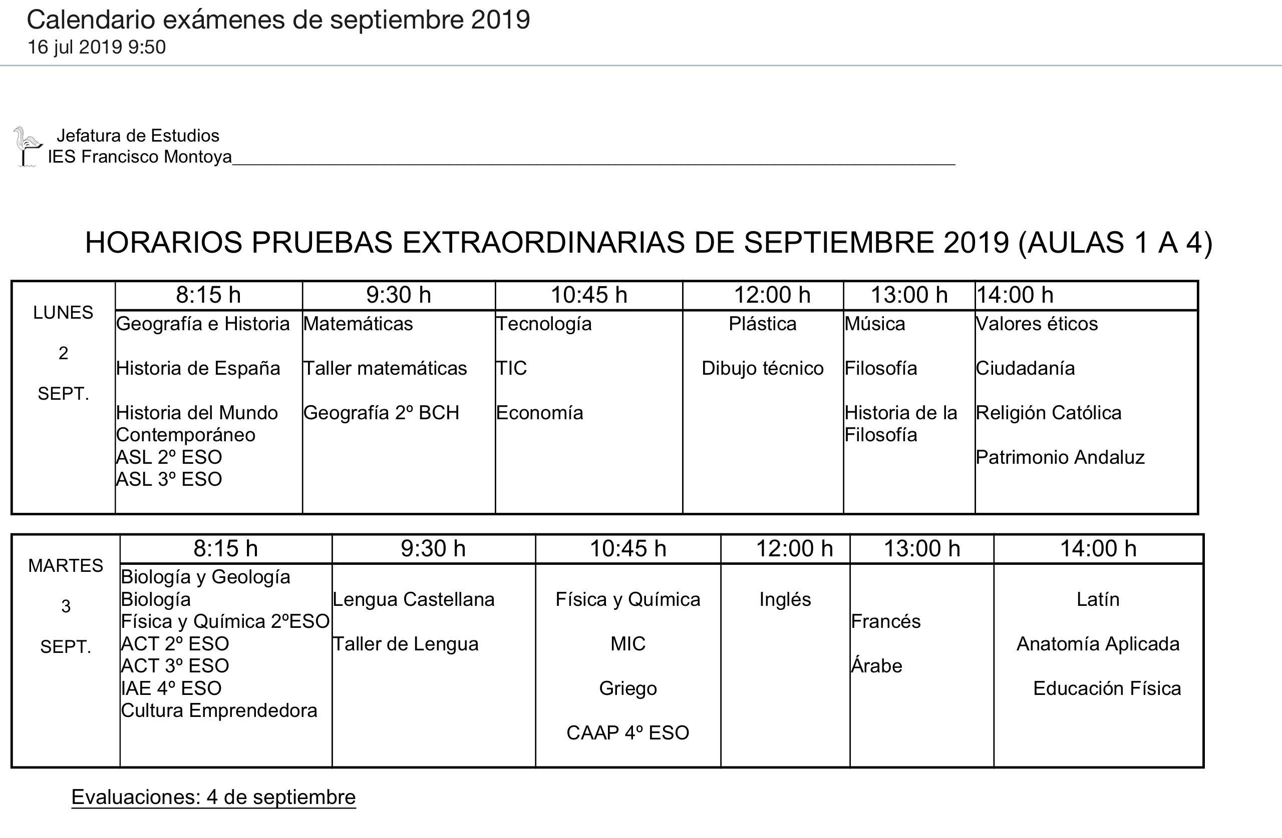 Calendario de exámenes de septiembre (2019)